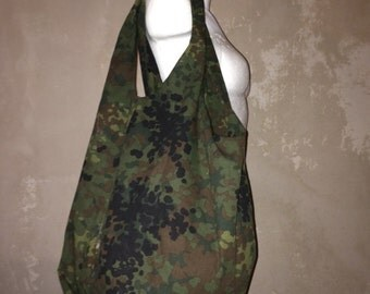 Army camouflage XXL tote bag inside zipper customized vintage