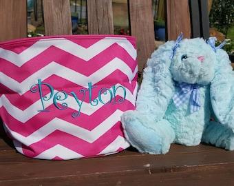 PERSONALIZED EASTER BUNNY, Asst. Colors, Easter Basket Filler, Plush Easter Bunny, Monogrammed Easter Rabbit, Soft Easter Bunny, Kids Gifts