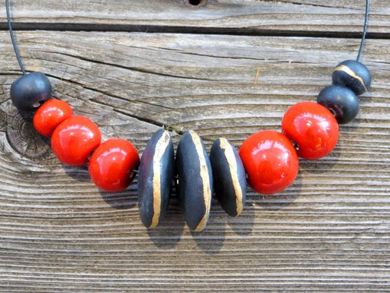 Ceramic, red + black + 26 karat gold, beaded neclace