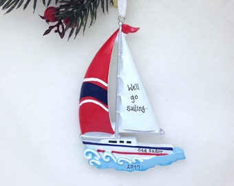 FREE SHIPPING Sailboat with Red Sail Personalized Christmas Ornament / Boat Ornament / Beach Ornament / Personalized Name or Message