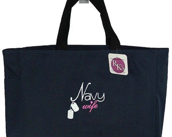 Navy Wife & Dog Tags Military Bridal Shower Essential Tote Bag + Free Name Monogram Custom Embroidered