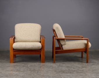 Pair of Mid Century Lounge Chairs Armchairs Teak Danish Modern