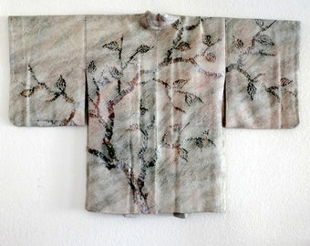 Kimono jacket/haori,  shibori, in shimmering green and with tree pattern