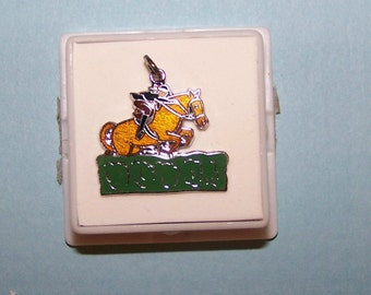 Vintage GIRL RIDING HORSE  over Steeple Charm--Sterling and Enamel--Griffith