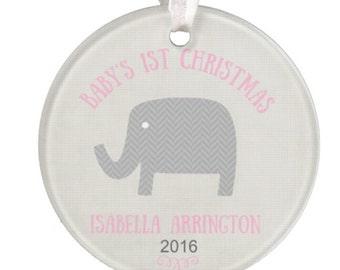 Elephant Baby Ornament, Christmas Ornament, Baby Gift, Personalized Baby Gift, Christmas Ornament, Ceramic Ornament, RyElle, Reindeer
