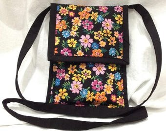 Women's Cell Phone Case, Florals on Black CrossBody Sling, iPhone - Galaxy Series - Android Case, Handmade Padded Cotton Cell Phone Case