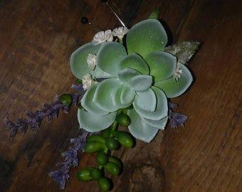 Lavender & Succulents Boutonniere