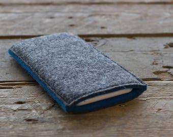 Samsung Galaxy Sleeve - Samsung Galaxy Cover - Samsung Galaxy Case in Mottled Dark Grey and Teal Blue 100% Wool Felt