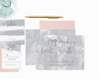 PAIGE WEDDING INVITATION | watercolour invitation | calligraphy font | modern invitation | fully customizable
