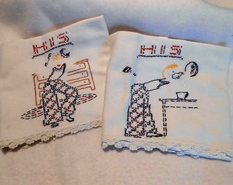 Vintage His and His Embroidered Hand Towels Set, c. 1930