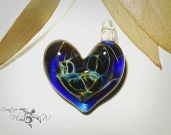 Glass Pendant - Blue Universe Heart Pendant - Love & Energy - Borosilicate Glass - Unique Jewelry - Glass Art - Curvy Lush Focal Bead.