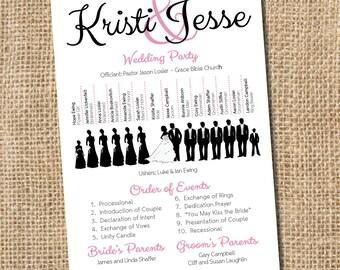 Silhouette Wedding Program - PRINTABLE