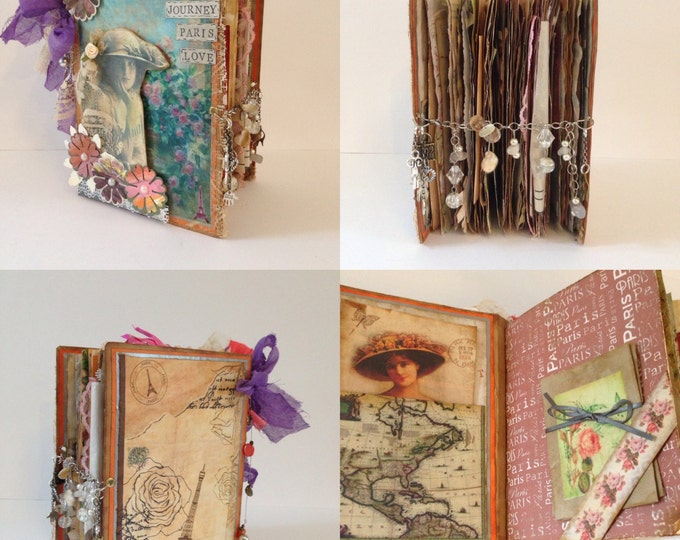 JOURNEY, PARIS, LOVE, Junk Journal, Family Album, Notebook, Vintage, Shabby Chic