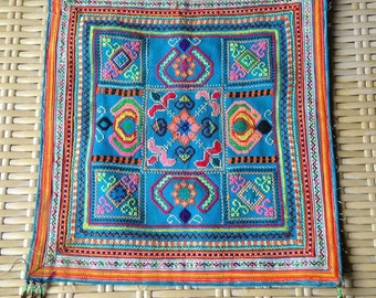 Ethnic embroidered Blue Hilltribe Hmong Textile Vintage Tribal Fabric Crafts supplies