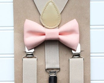 Bowtie and Suspenders Set/Peach Bowtie/Tan Suspenders/Baby and Toddler Bowties/Birthday and Wedding Sets