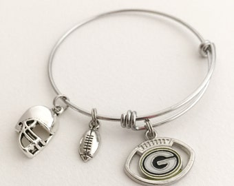 Green Bay Packers Football Bracelet. Green Bay Packers Expandable Charm Bangle.