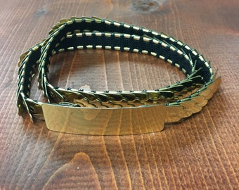 70s Gold Scales Metal Belt//Vintage//Retro//Boho
