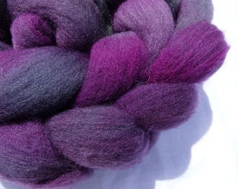 Hand Dyed Wool Roving (Top) - Purple Charollais - 100g