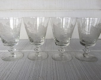 Mid Century etched water goblets / glasses, toasting glasses, wedding toasting glasses, vintage etched stemware, MCM bar cart glassware