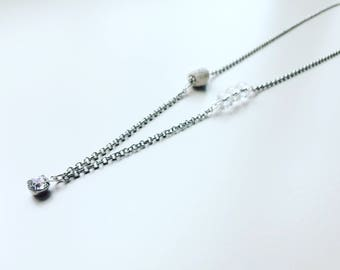 Diamond Necklace, Special Occassion, Essential Oil Diffuser, Silver Necklace, Clay Lava Bead, Minimalist, Modern Aromatherapy Jewelry
