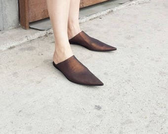 Leather woman shoes, Morocco shoes, Babouches, Open Back Shoes, Pointy Sandals, Leather Slip On, Summer Shoes, UnaUna shoes, Slide Sandals