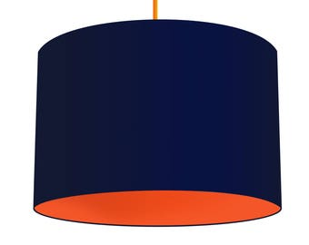 Navy Linen Fabric Drum Lampshade, Contrasting Carrot Orange Cotton Lining, Small Lampshade 20cm - Large Lampshade 40cm or Custom Size