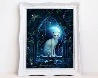 fantasy cat art, white cat print, fantasy print, cat wall decor ,cat picture, cat wall art, blue moon, animal art, animal print, Enchanting