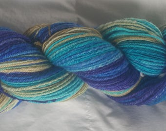 Handspun, Hand Painted BFL Wool Yarn - Sea to Shore