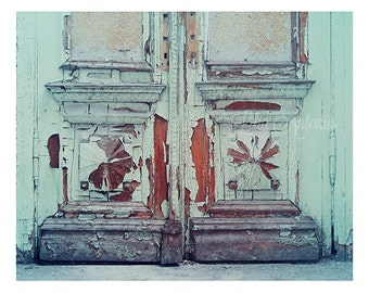 Rustic Mint Old Door Antique Shabby Door Architecture Fine Art Photography Vinatge Door Picture Mint Blue Print Cottage Shabby Chic Artwork