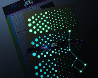 Constellation and Glow in the Dark Ceiling Stars  Kit. 16 Designs eg The Big Dipper, Orion, Virgo, Libra, Gemini, Taurus, Aries, Leo, Pisces