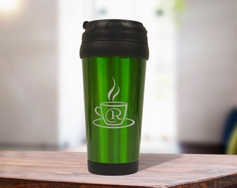Green Stainless Steel Coffee Travel Mug, Personalized Office Gift