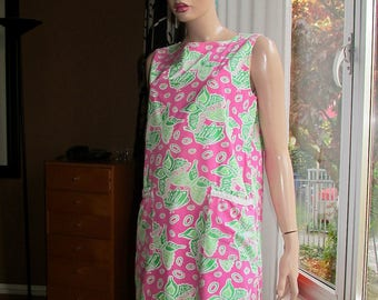 Vintage Lilly Pulitzer dress. Vintage cotton shift dress.Butterfly print summer cotton dress.
