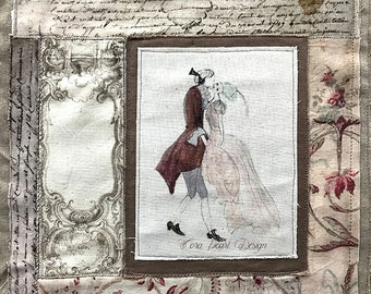 Mixed Media Collage Embroidery Artwork  -  Rococo Baroque Fabrics - Textile Art -  Watercolour Painting Fabric Collage Fiber Art Textiles