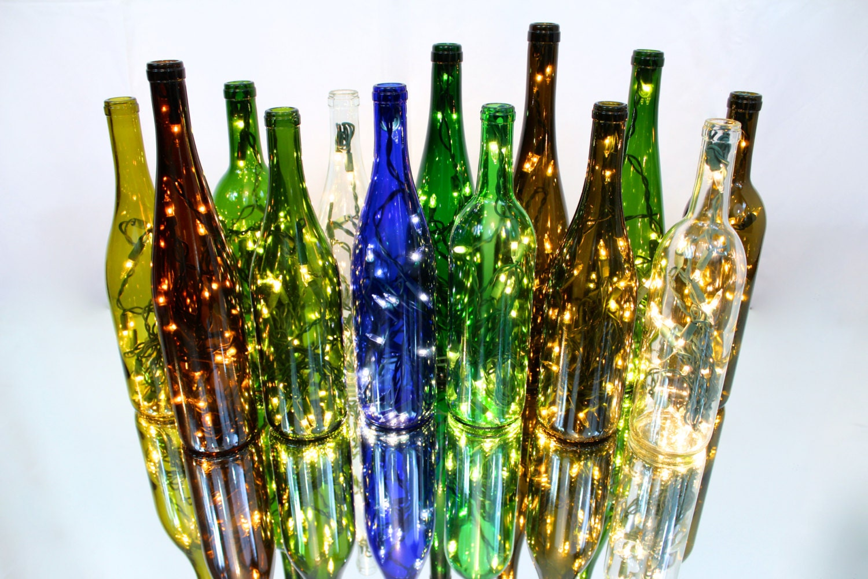 Three Recycled Wine Bottle Lights Wine Bottle