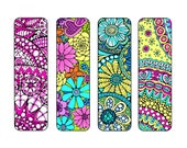 Bookmarks to Color and Print - Bookmark Coloring Page - Digital Download - Nature, Flowers, Adult Coloring Page