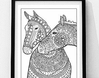 elephant mom and baby coloring page to print and color - Mom Baby Horse Coloring Pages
