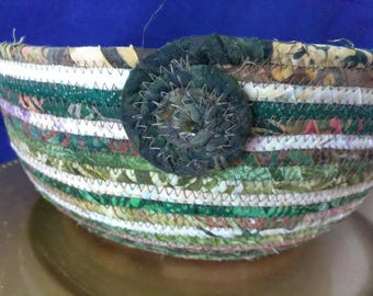 Coiled Fabric Wrapped Rope Clothesline Basket/Bowl