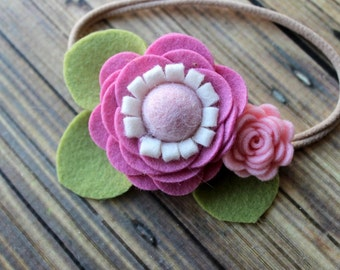READY TO SHIP -  Felt flower garland - Nylon headband - One size fits most