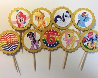 24 My Little Pony Cupcake Toppers (birthday cupcake toppers)
