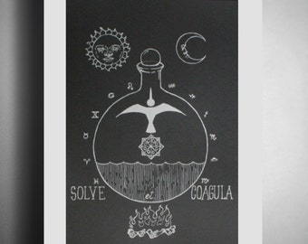 "Alchemy poster - Screen Printed Poster - Limited Edition ""Solve et Coagula"" - original illustration - ON SALE FROM 22.00!!"