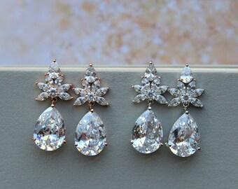Rose Gold Art deco Earrings, Bridal Earrings ,Crystal Earrings, Wedding Earrings, Crystal Teardrop Earrings Wedding Jewellery