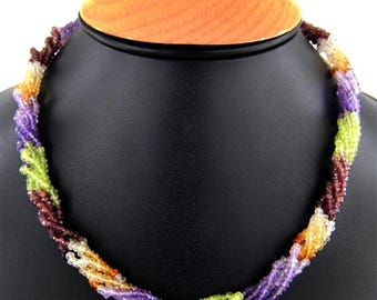 Beautiful Semi Precious Roap Necklace Multi Stone Beads Necklace Length 16'Inches
