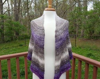 Semi-Circular Shawlette/Scarf, Hand Knit Shawl