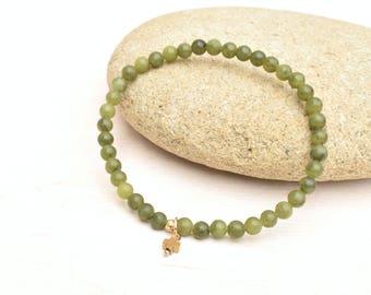 Jade bracelet, Olive green bracelet, 14k gold bracelet, Jade jewelry, Stretch bracelet, Layering bracelet, Gift for her, Jade beads