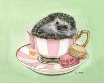 Hedgehog art print. Nursery art. Hedgehog giclée paper print. Kids decor. Hedgehog pet art.  Hedgehog nursery decor. Hedgehog in teacup. Pet