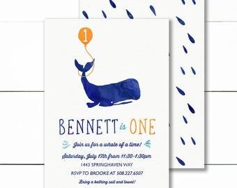 Whale Birthday Party Invitation, Nautical Whale Birthday Invite, Little Squirt First Birthday Invitation- Printable