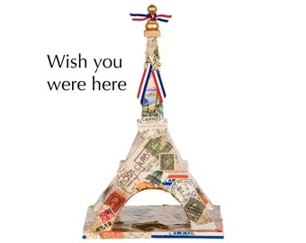 """Eiffel Tower - """"Wish You Were Here"""" - Decoupage on wood - Mixed media art piece"""