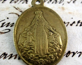 """Astonishing 1800 Medal """"In The Trance of Death"""" Our Lady - Brass Medal- Spain - Catholic Religious"""