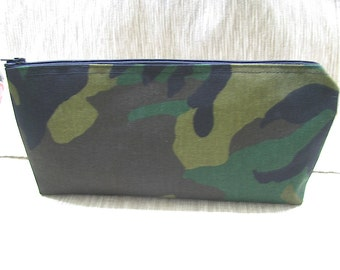 Camouflage Pencil Case, Art Supply Case, Roomy Camouflage Bag, Camouflage Zippered Case
