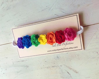 Rainbow Felt Flower Headband, Infant Headband, Baby Headband, Felt Rainbow Headband, Flower Headband, Toddler, Rainbow Flower Headband